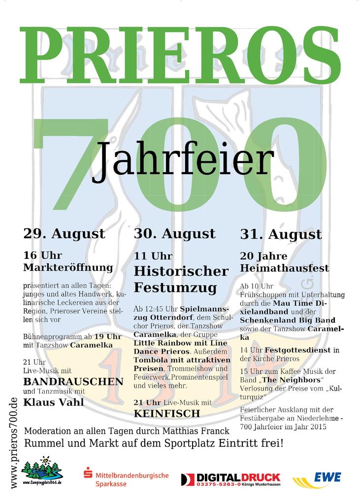 700 Jahre Prieros - Plakat Aushang